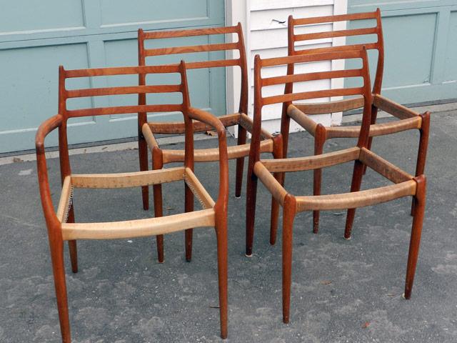 Cane Chair Repair. JL Moller Danish Chairs